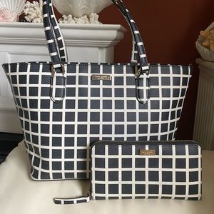 Kate Spade Plaid Tote & Matching Wallet